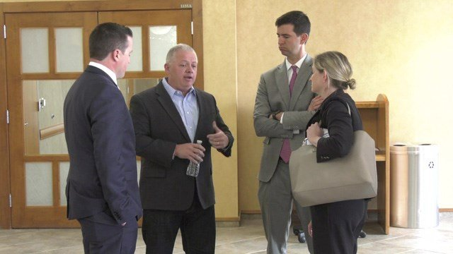 (R) Denver Riggleman talked with healthcare experts in Albemarle County on Tuesday.