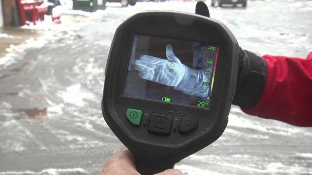 Technology at the Charlottesville Fire Department shows the importance of wearing layers in the cold.