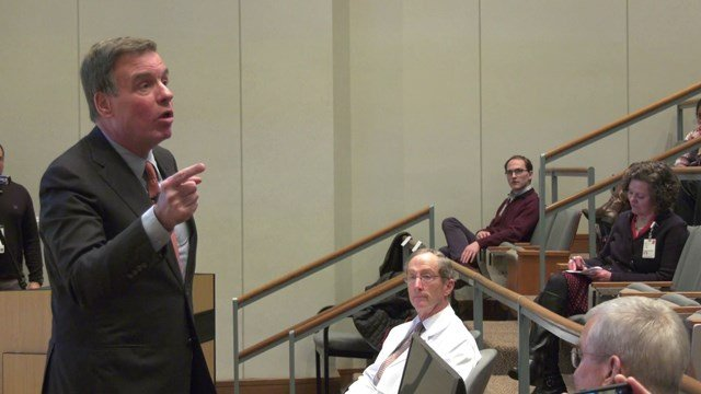 Mark Warner joined health professionals at UVA on Feb. 22
