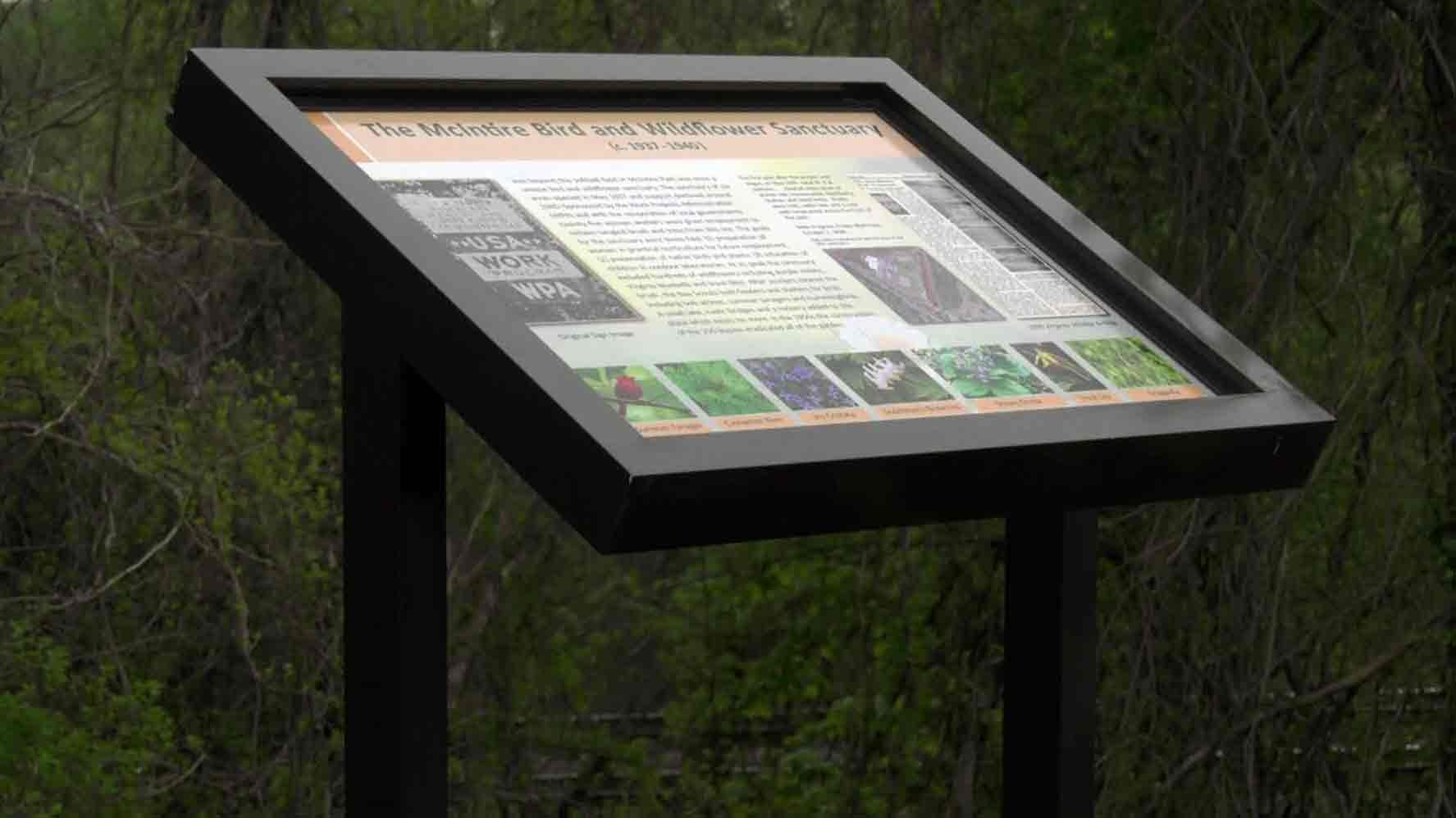 New Sign in McIntire Park Honors 1930s WPA Bird Wildflower Sanctuary