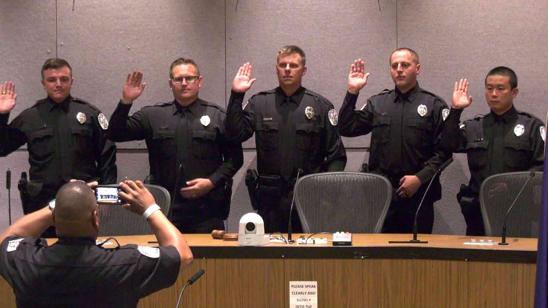 Charlottesville Police Department Swears In Five New Officers, Staff Numbers Improve