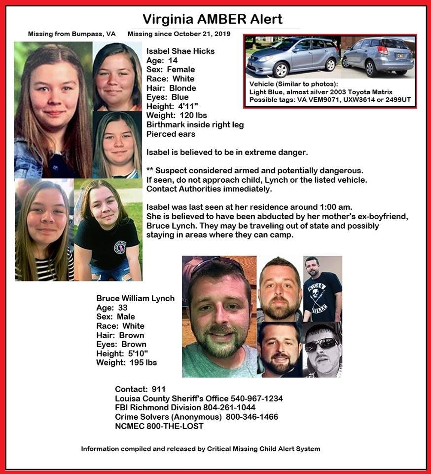 Virginia AMBER Alert Poster from 10-21-2019