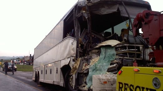 Tractor-Trailer Driver Charged After Crash with Bus Closes I