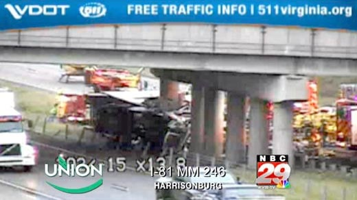 Tractor Trailer Accident Causes I-81 Backups near